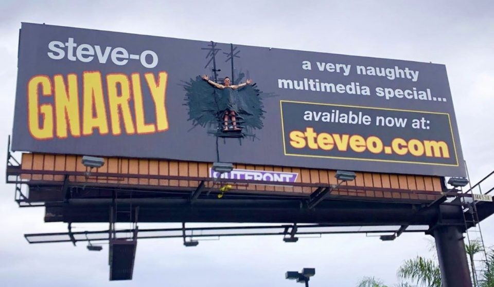 Steve-O Taped Himself To A Billboard In L.A. Today