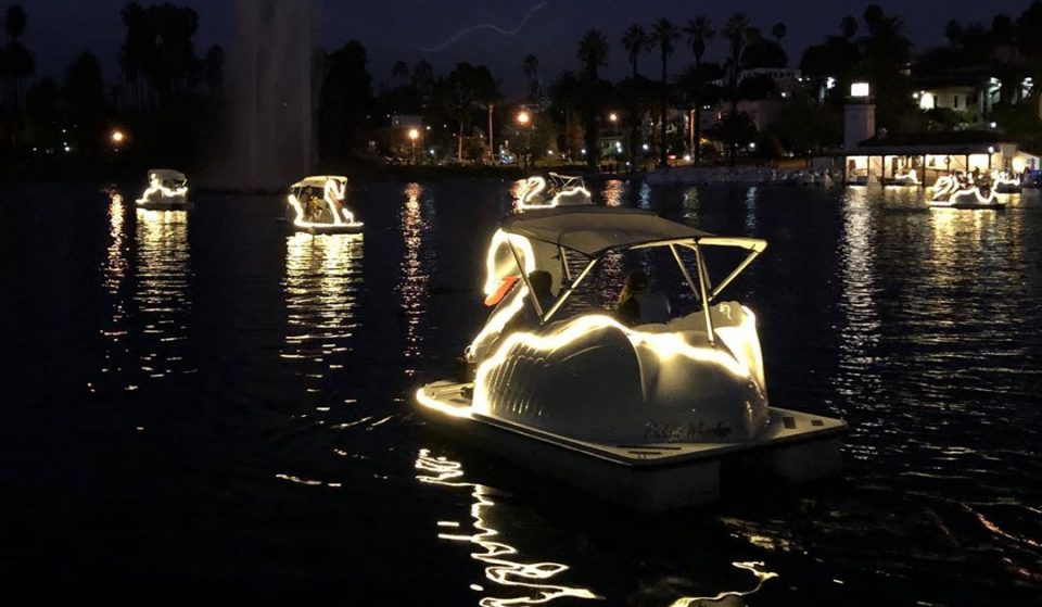 Take A Magical Night Ride On An Illuminated Swan Boat In Echo Park