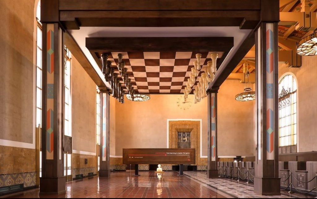 There's A Giant 'Queen's Gambit' Chessboard On The Ceiling At Union Station In L.A.