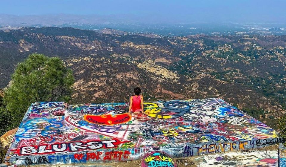 Hike To This Graffitied Ledge With Breathtaking Views Of The Santa Monica Mountains