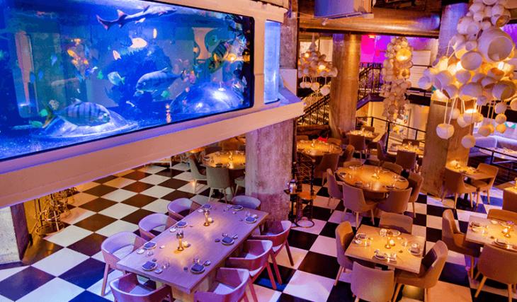 This Hidden Subterranean Restaurant Has A 5,500-Gallon Aquarium Chandelier