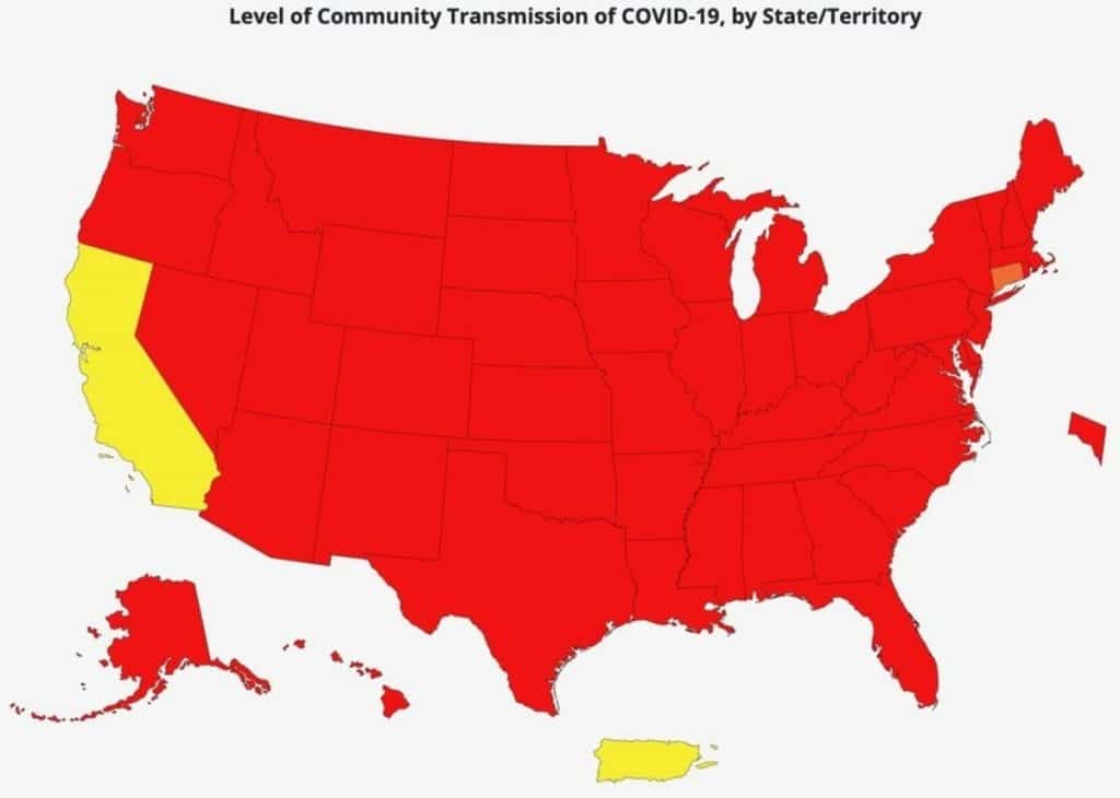 California Leads Nation As Only State In CDC's 'Moderate' Category For Covid Transmission