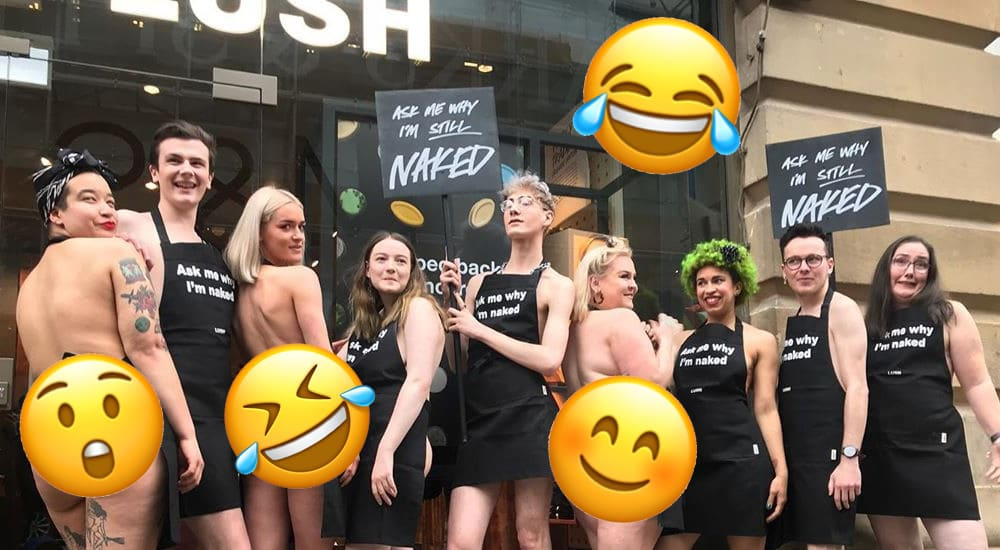 Lush Staff Went Naked To Celebrate The Opening Of A Plastic-Free Store In Manchester