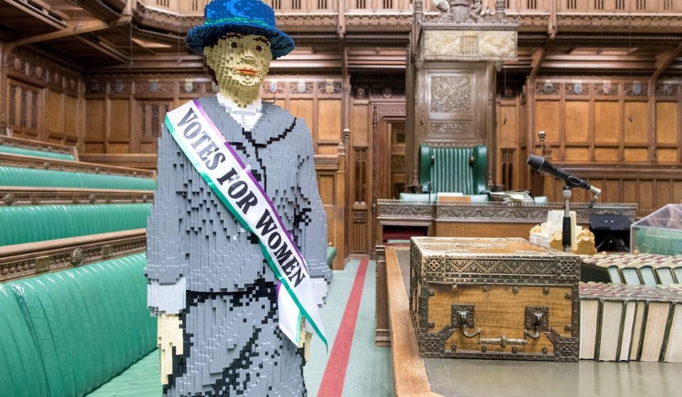 A Life-Sized LEGO Suffragette Will Pop Up In Manchester On Emmeline Pankhurst's Birthday