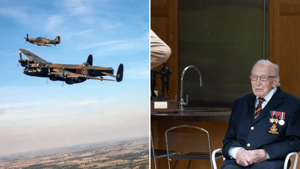 A Military Flyover Wishes 'Colonel' Tom Moore A Happy 100th Birthday As He Hits £30 Million For The NHS