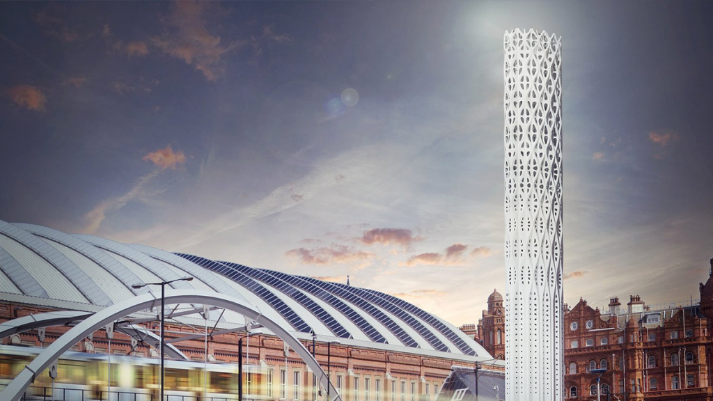Manchester's New Tower Of Light Which Looms Over The City Is Almost Complete