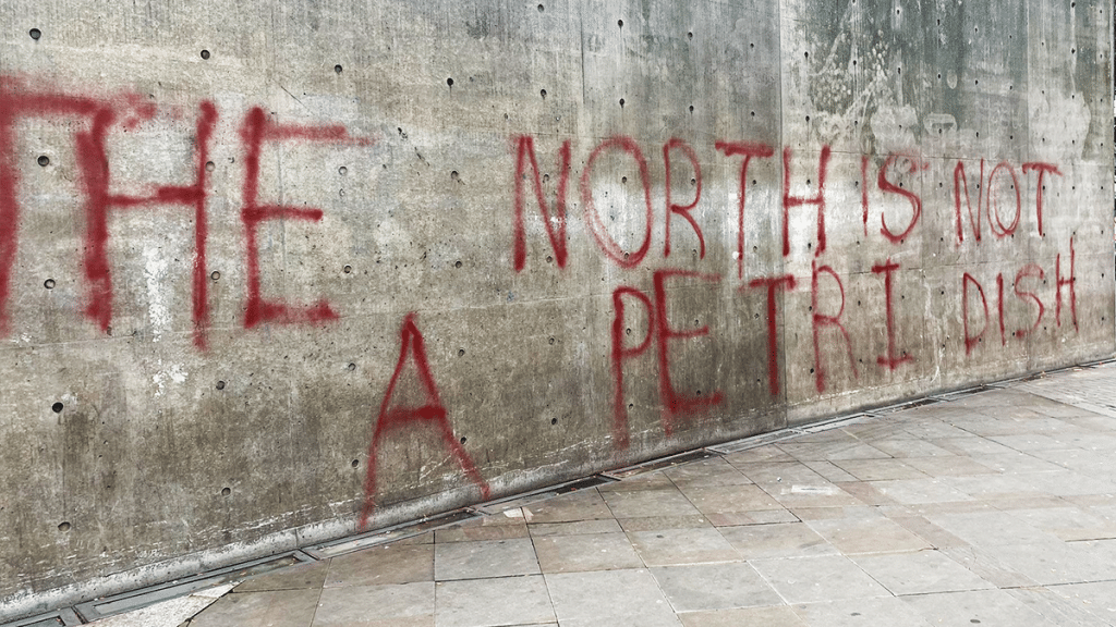 Piccadilly Gardens Defiant Graffiti Will Stay Up 'For A Few Days', Councillor Confirms