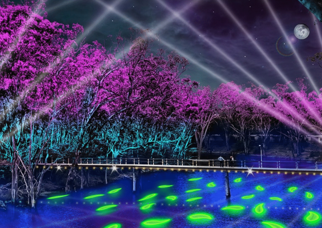 A Vibrant Light And Sound Festival Is Set To Illuminate The Murray River Next Month • Moama Lights