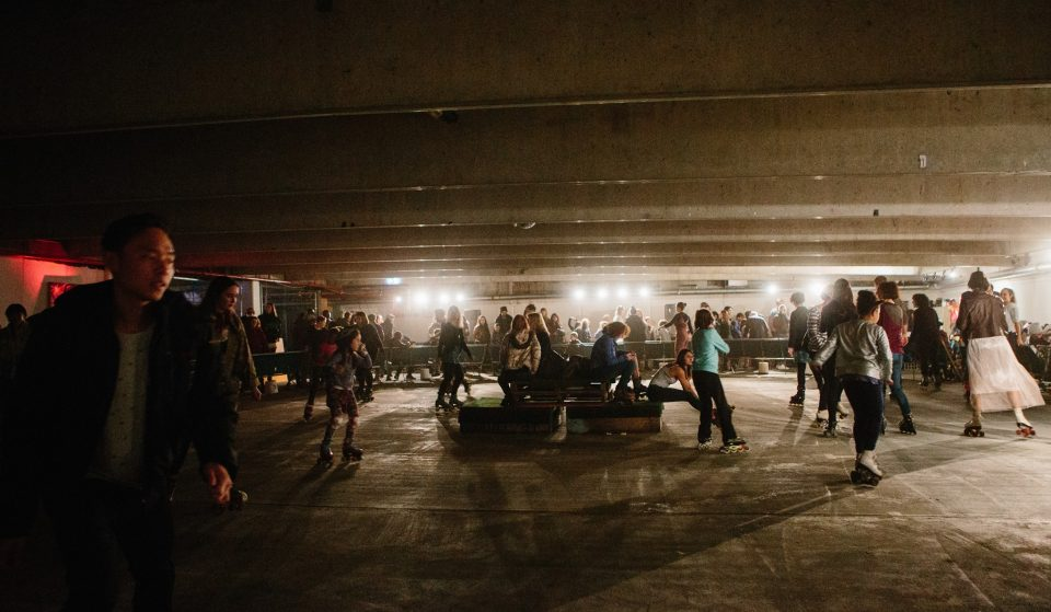 Party At An Underground Roller Disco At Leaps And Bounds Music Festival