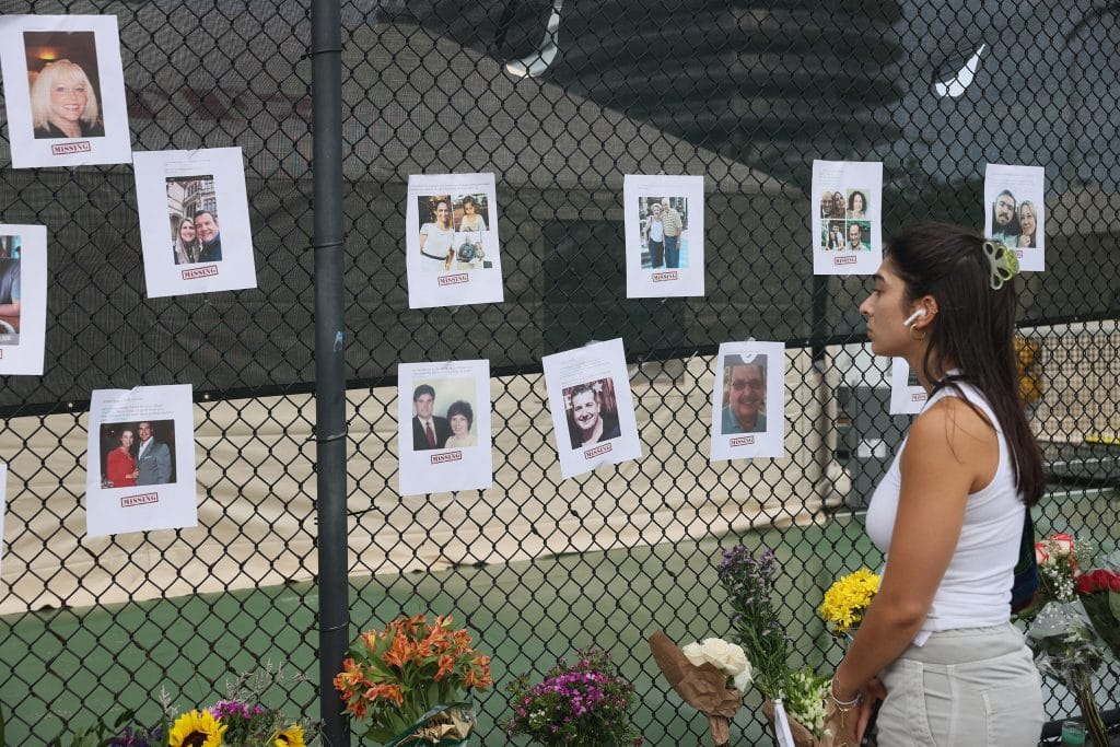 A Memorial For The Victims Of The Collapse Goes Up Near Champlain Towers