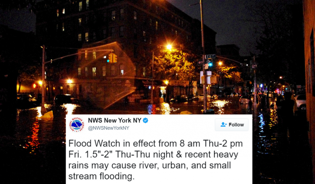 The National Weather Service Warns Of Flooding In New York City Today