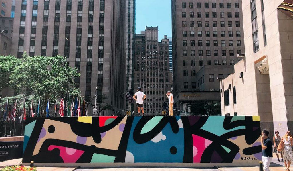 This Graffiti Mural has replaced the Seated Ballerina in Rockefeller Center