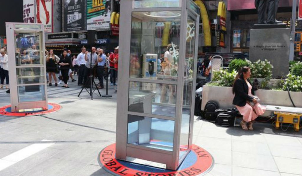 Phone Booths in Times Square lets People hear Immigrants Stories