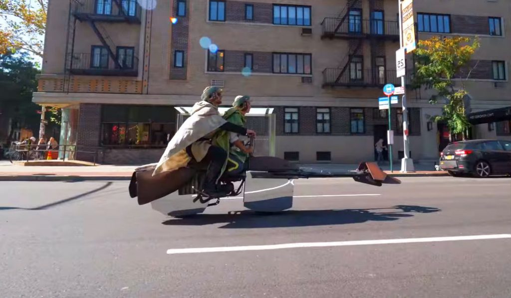 Watch a Couple Fly Around NYC on a Floating Star Wars Speeder