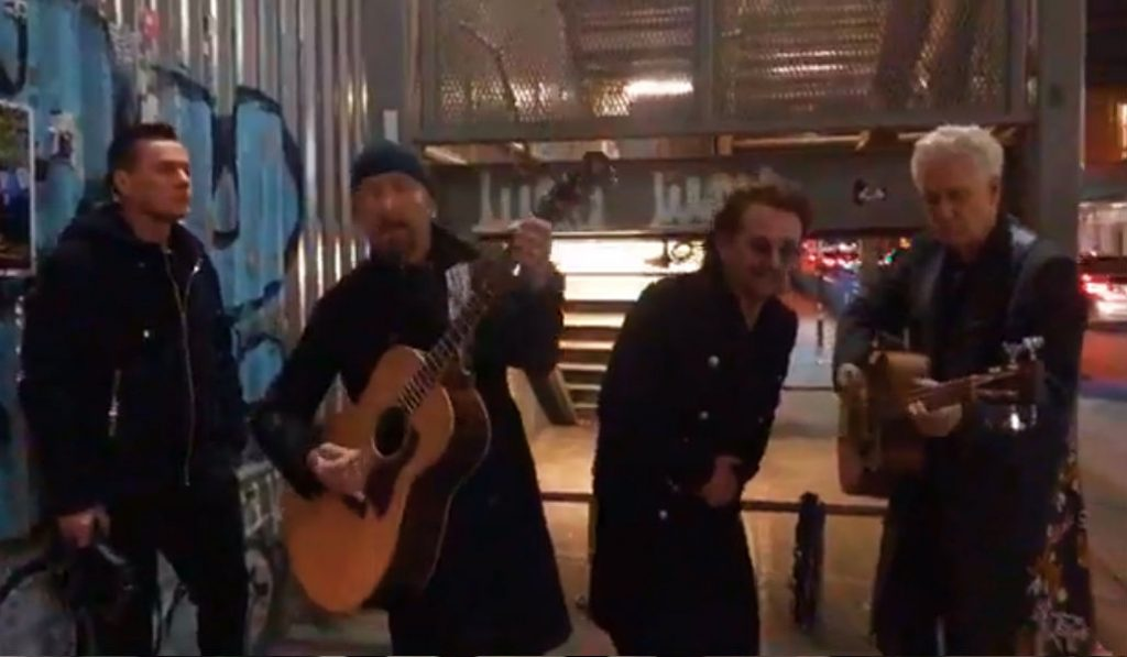 Watch U2 Give a Secret Concert on an NYC Street Corner