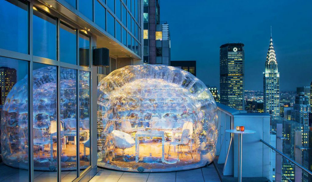 The Highest Rooftop In Times Square Is Serving Cocktails In Heated Bubbles