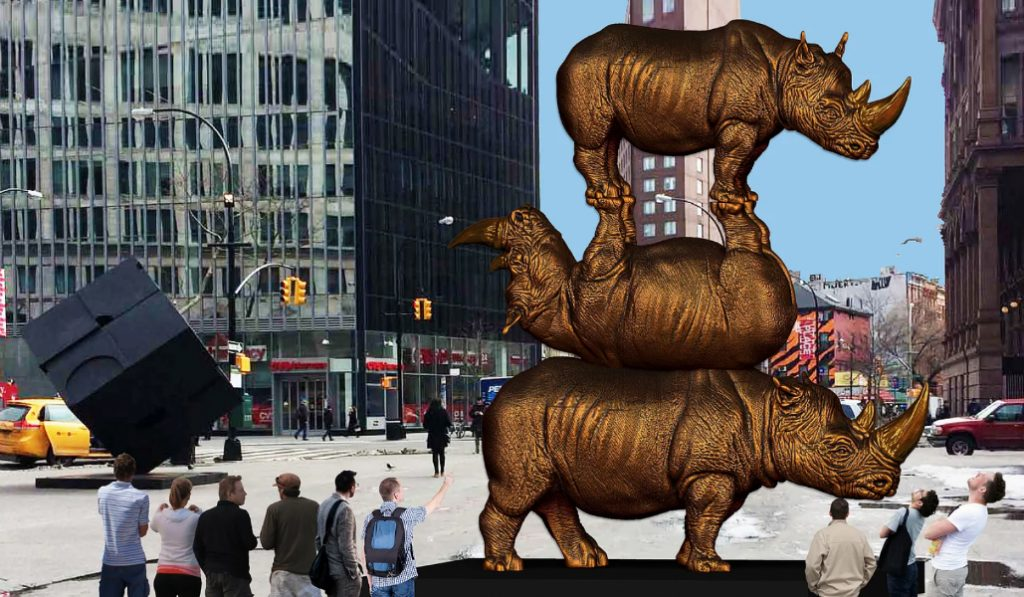 World's Largest Rhino Sculpture Comes to Astor Place