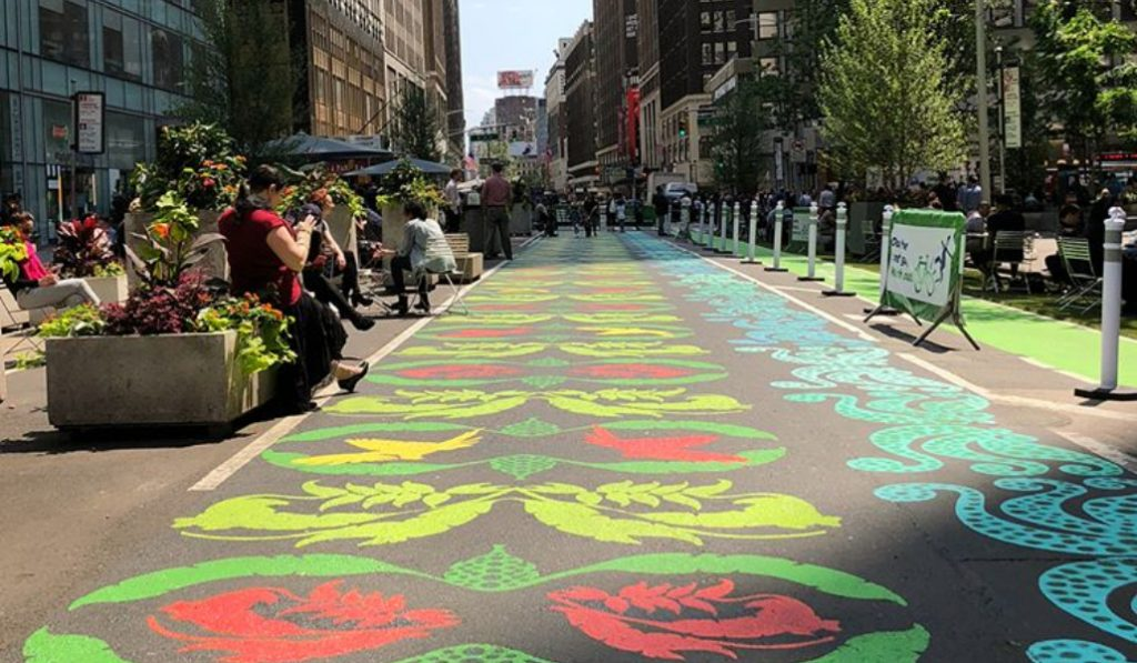A Garden Inspired Street Mural Has Popped Up In The Garment District