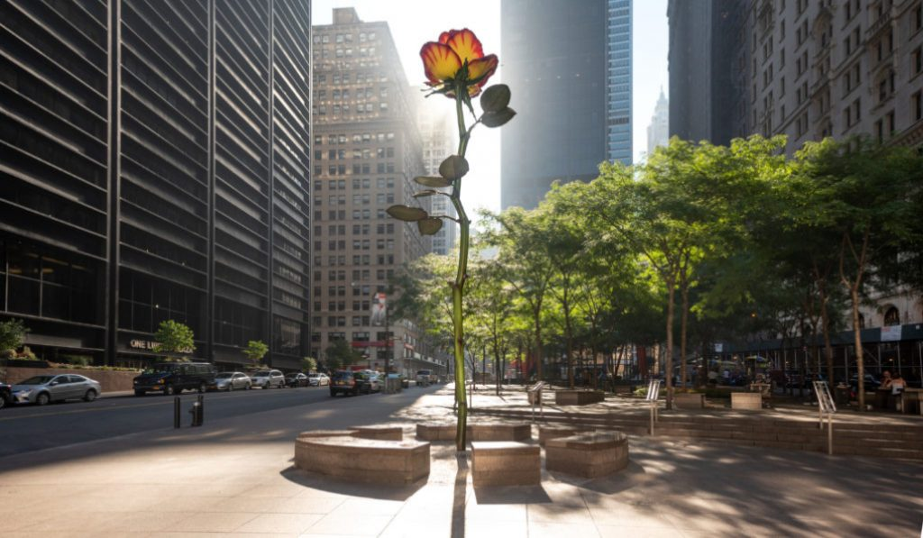 A 26-Foot-High Sculpture of A Rose Is Up And Blooming In FiDi