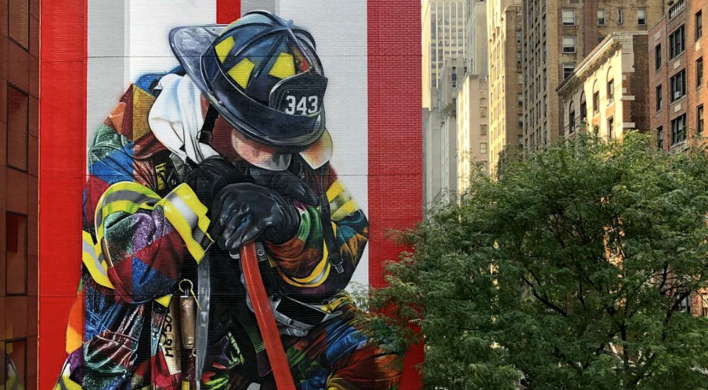 Midtown Gets a Touching Seven-Story Firefighter Mural for 9/11 Anniversary