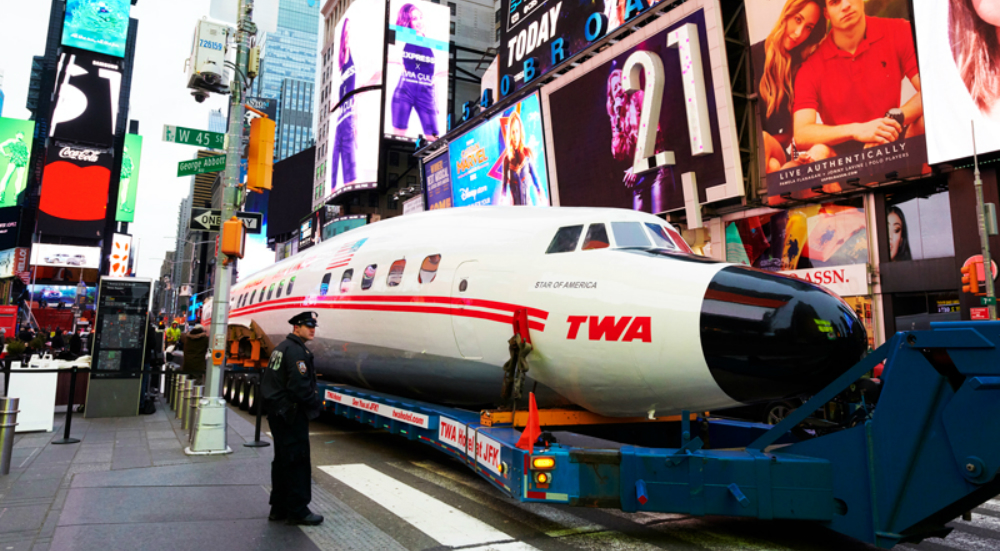 Restored Vintage Plane Lands In Times Square, Will Soon Become Hotel Cocktail Lounge