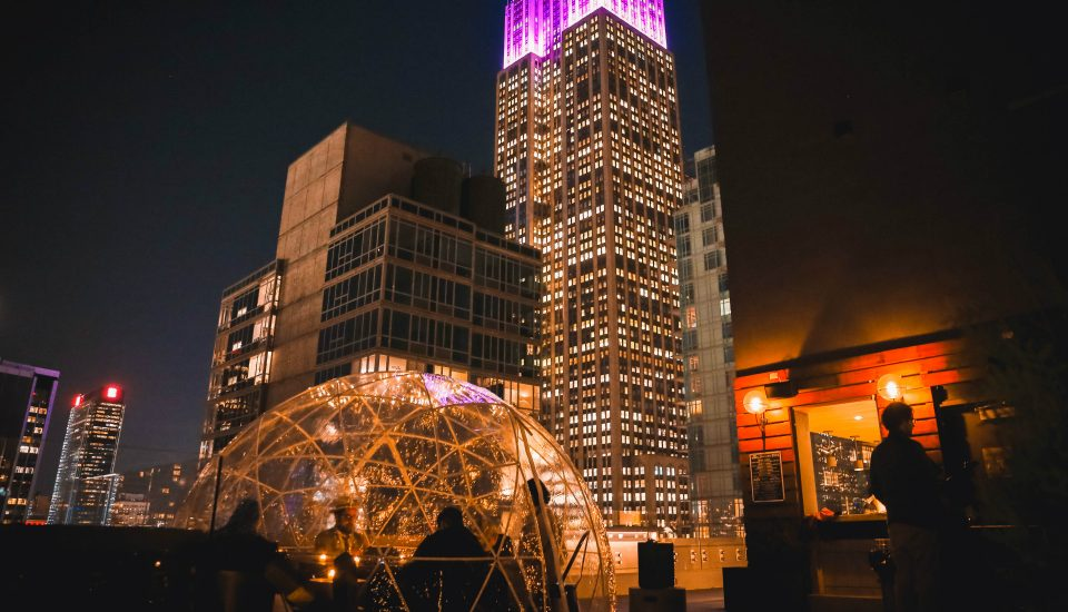 Arlo's Rooftop Bar Transforms Into A Winter Wonderland With Cozy Ice Huts