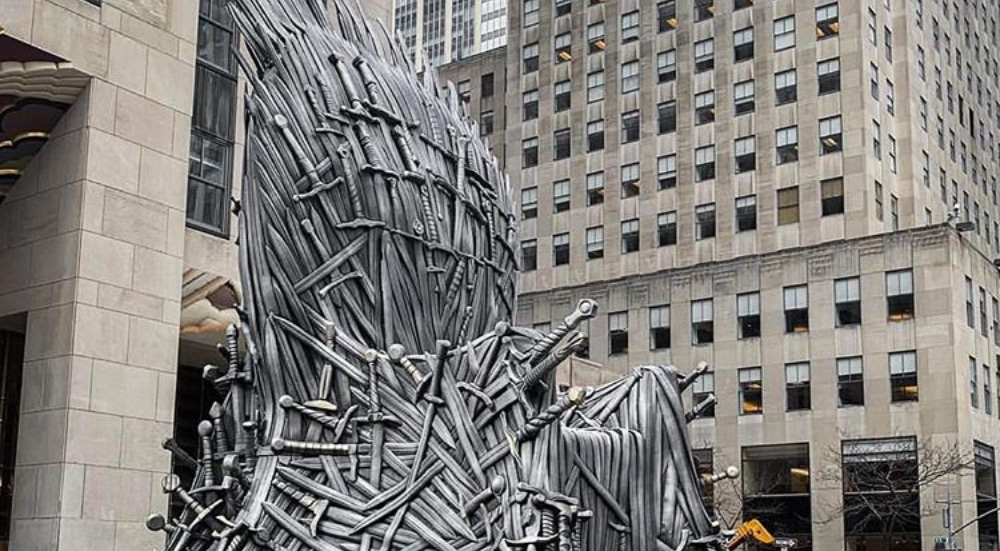 A Massive Iron Throne Is Sitting In The Middle Of Rockefeller Center