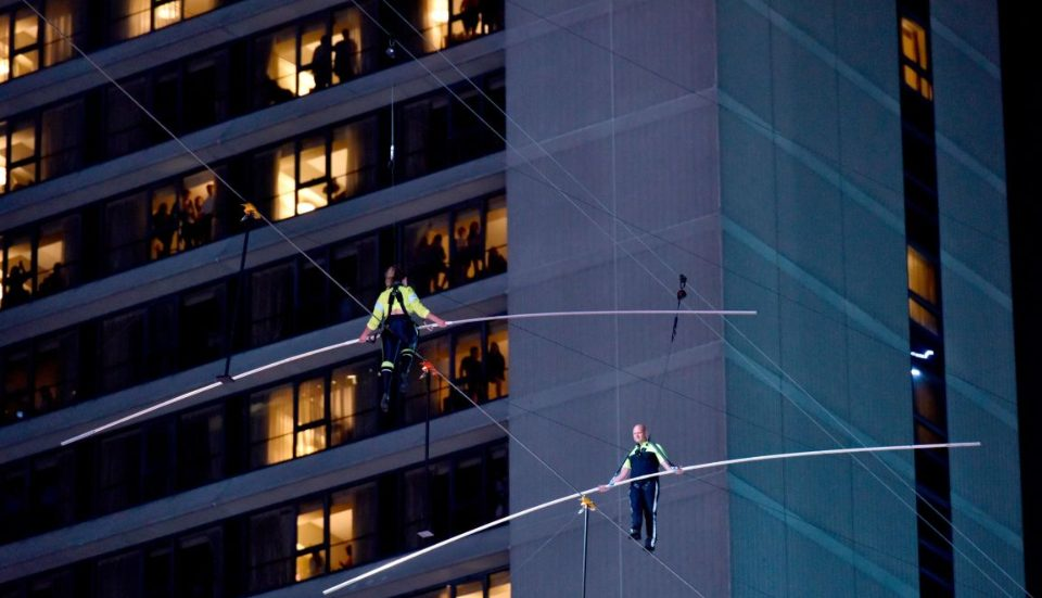 Daredevils 'The Flying Wallendas' Crossed Times Square On A Tightrope Last Night