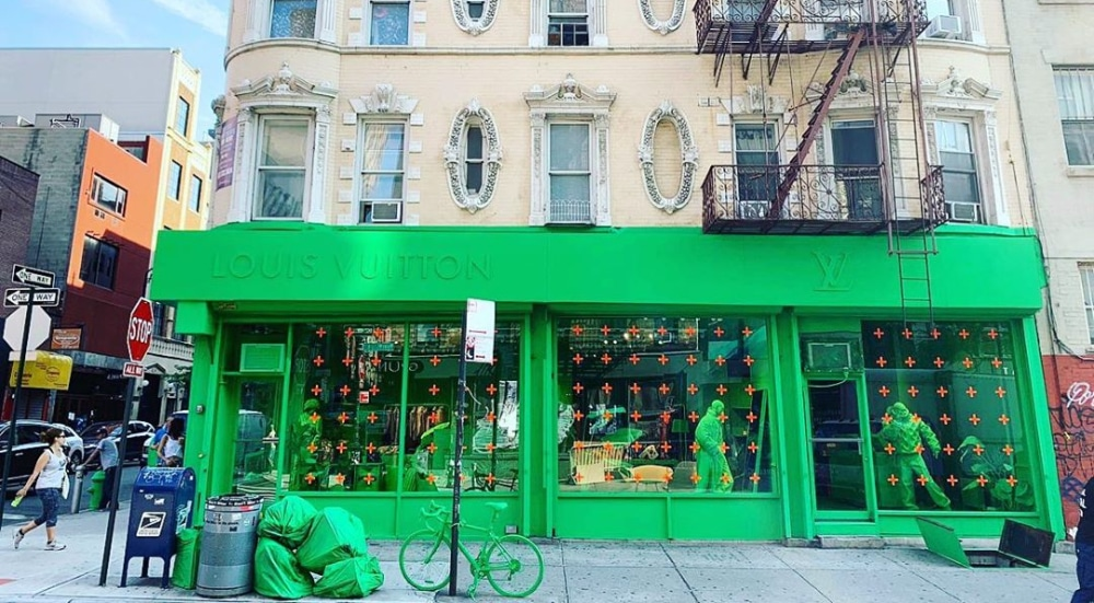 Check Out The Monochromatic Neon Green Louis Vuitton Pop-Up On Ludlow Street