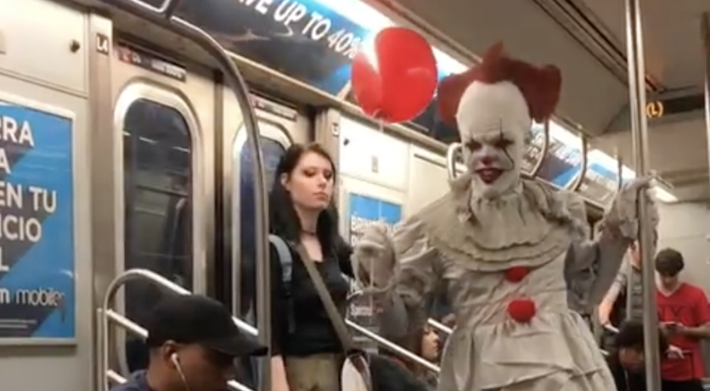 Watch This Terrifying Pennywise Clown Creep Onto The Subway In The Middle Of The Night