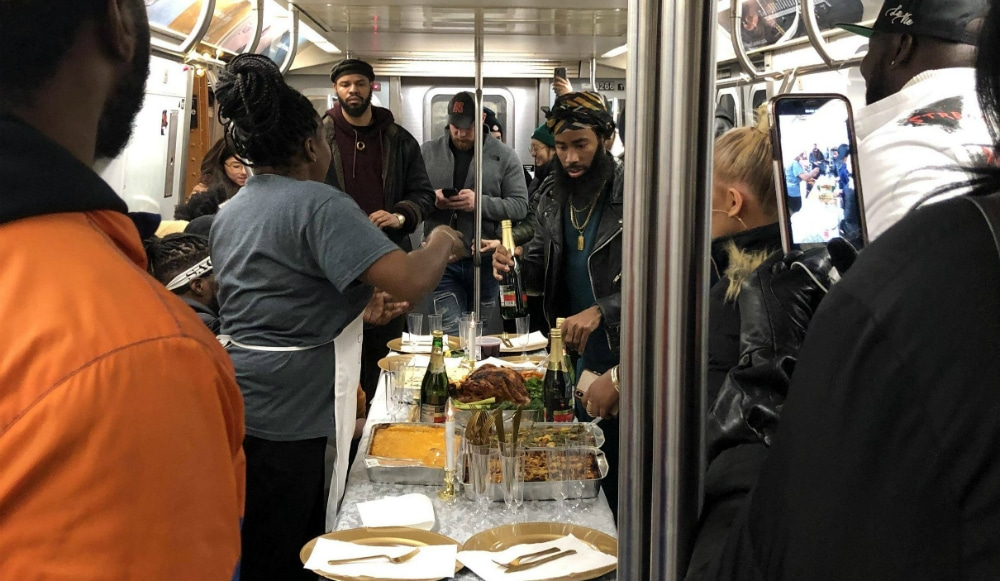 Every New Yorker Was Family At This Thanksgiving Feast That Took Over The L-Train Sunday Night