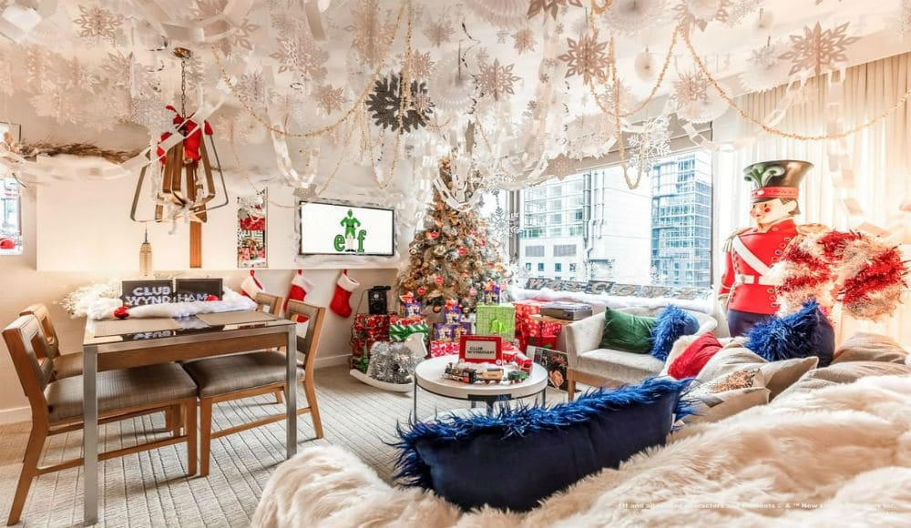 This Elf-Inspired Hotel Suite Has Hundreds Of Paper Snowflakes, A Wall Of Gifts And Marshmallows!