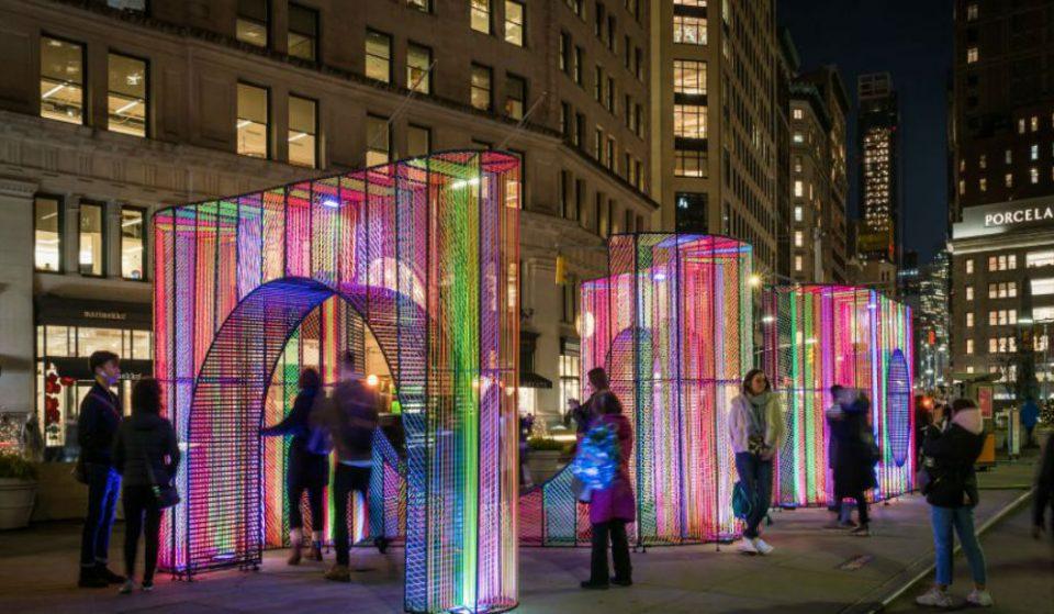 Stroll Through A Kaleidoscope Of Neon Lights At Flatiron's New Holiday Art Installation