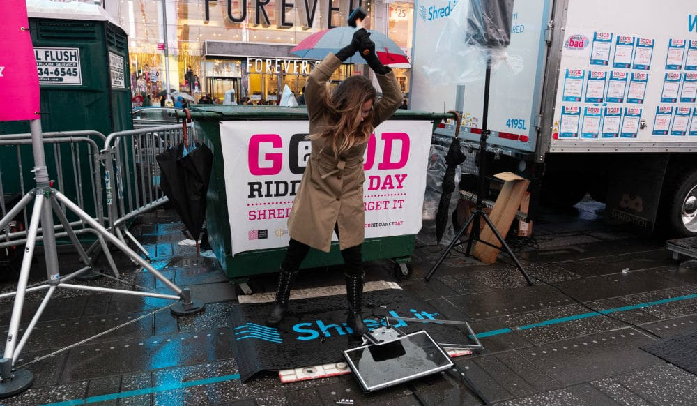 Smash And Shred Your Worst 2019 Memories At The Annual 'Good Riddance Day' in Times Square