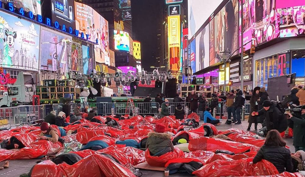Over 1,000 People Slept In Times Square Last Night To Help Combat Homelessness