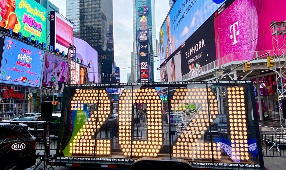 Get Your Photo With The 2021 New Year's Numbers Before The Times Square Ball Drop