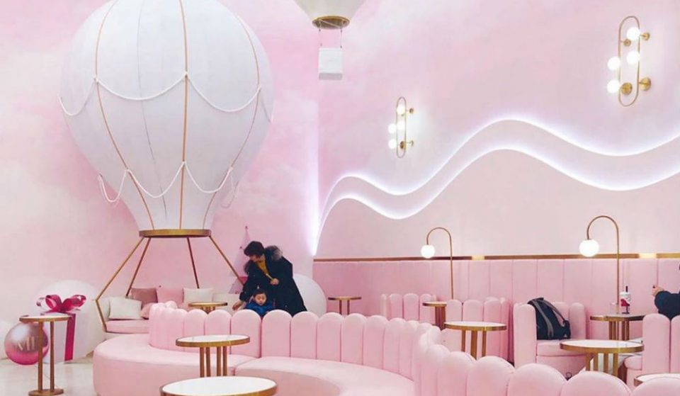 This Bubble Tea Shop In Queens Is Entirely Pink Including A Hot Air Balloon Couch • M Tea