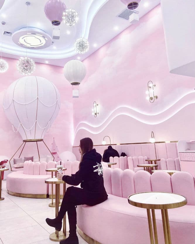 This Bubble Tea Shop In Queens Is Entirely Pink Including A Hot Air Balloon Couch M Tea Secretnyc