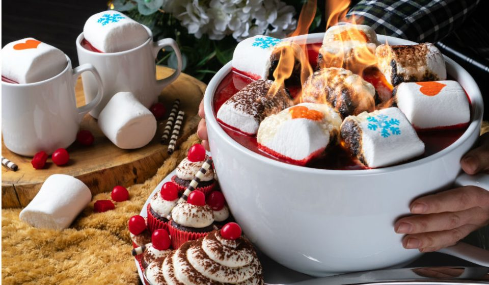 An Enormous 15-Pound Spiked Red Velvet Hot Chocolate Is Coming To A Rooftop In Midtown • PHD Terrace