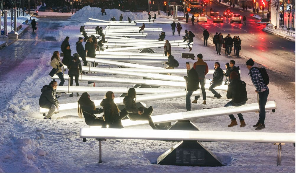 You Can Now Ride On These Giant Light-Up Seesaws On Broadway