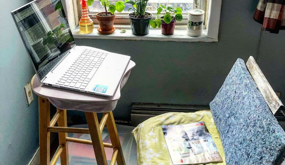 See The Hilariously Creative Ways New Yorkers Are Creating Makeshift Desks In Their Apartments