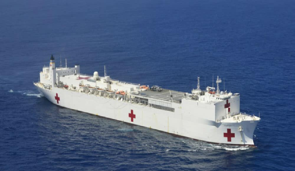 Giant Hospital Ship 'USNS Comfort' Docks In New York Harbor Today