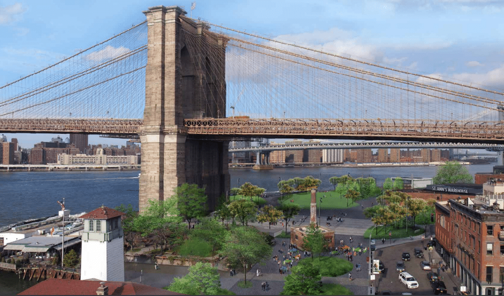 A New Park Plaza Will Offer Waterfront Views Directly Beneath The Brooklyn Bridge
