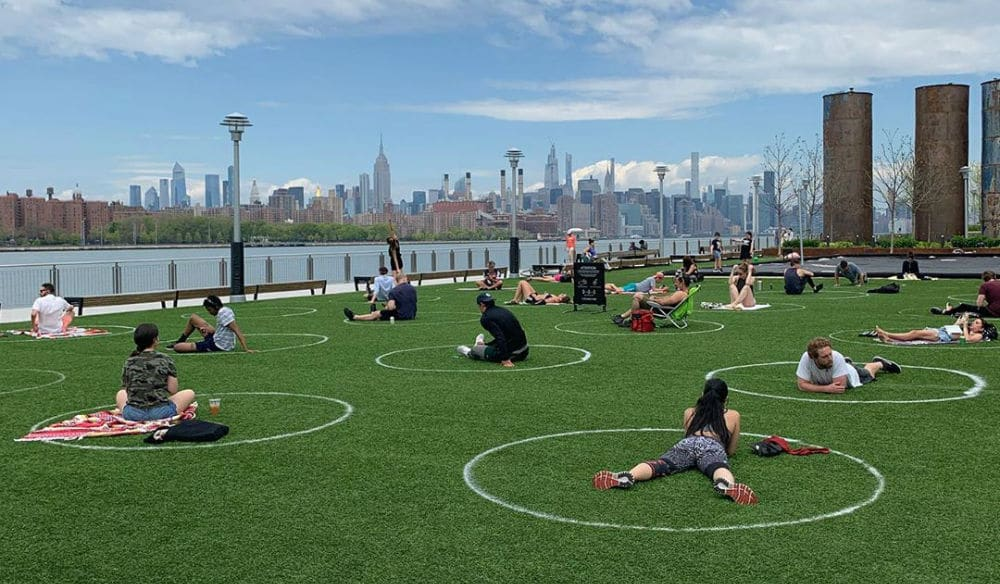 Brooklyn's Domino Park Painted 'Social Distancing Circles' So Parkgoers Stay Six Feet Apart
