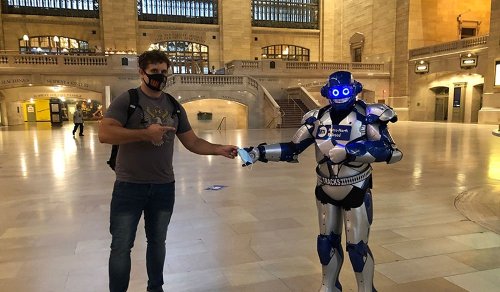 A Blue Iron Man Look-Alike Has Been Spotted Giving Out Masks In Grand Central Terminal