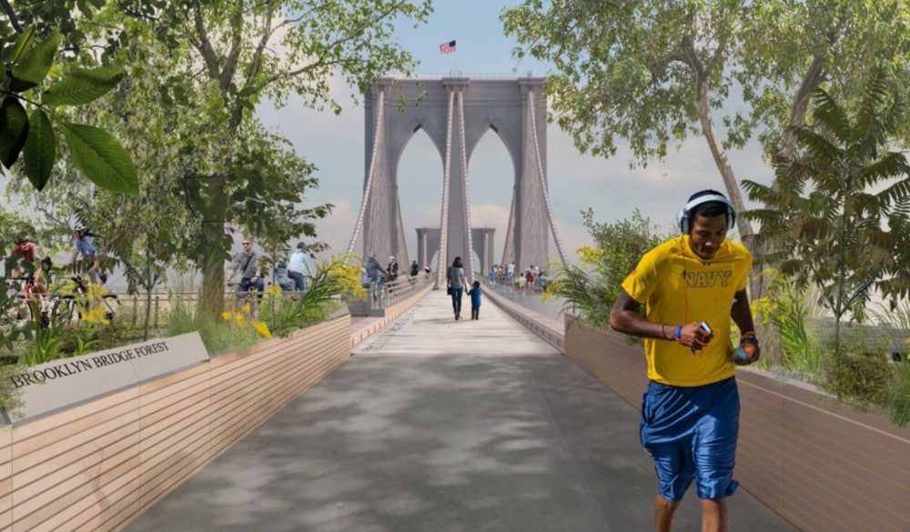 Brooklyn Bridge Becomes A Walkable Greenspace With Lush Mini 'Forests' In Winning Redesign