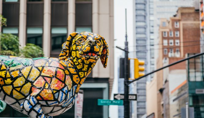 These Enormous, Colorful Dog Sculptures Have Taken Over Broadway