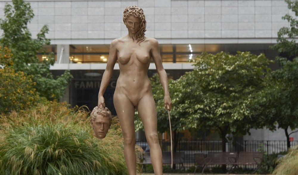 A Seven-Foot-Tall Medusa Statue Has Appeared Across From The NYC Courthouse