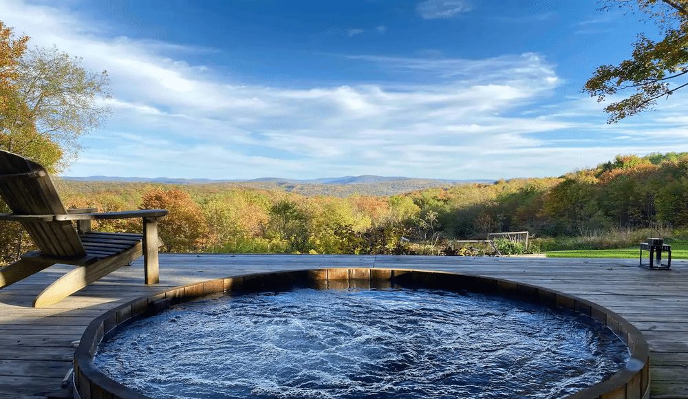 Soak In A Luxurious Hot Tub Overlooking The Catskill Mountains At This Cabin Hideaway