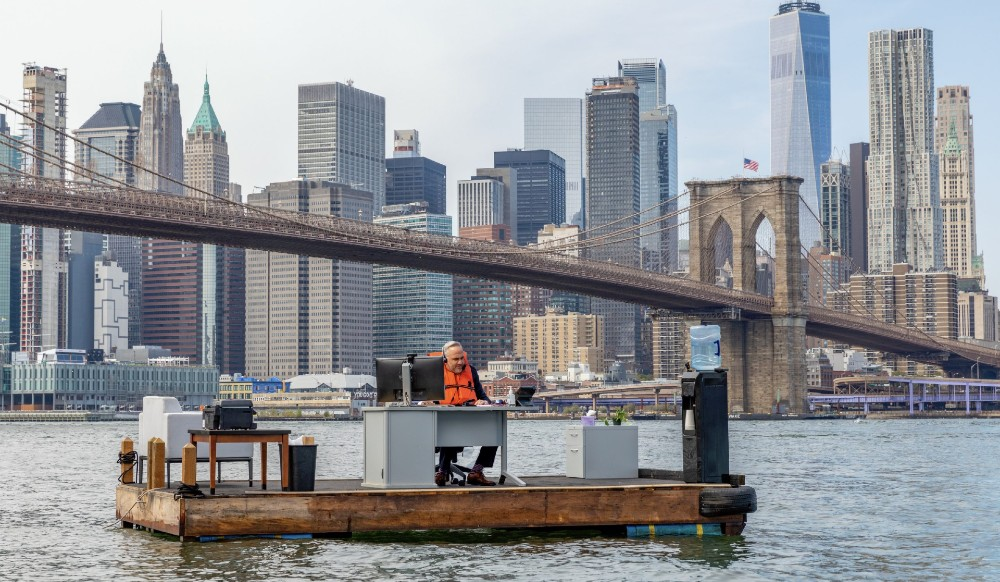 A Giant Work-From-Home Desk Was Spotted Floating In The East River This Weekend